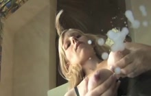 Blonde pregnant babe lactating