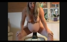 French Preggo chick rides huge dildo