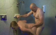 Pregnant blonde fucked under shower