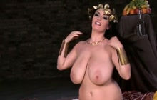 Preggo goddess with huge tits playing with herself