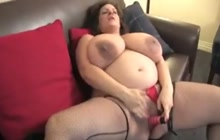 Pregnant woman strips and masturbates
