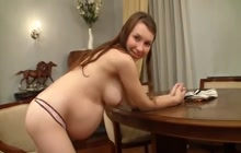 Pregnant young girl teasing us