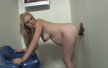 Pregnant GF takes a BBC trough gloryhole
