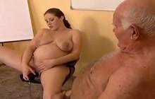 Grandpa having fun with a preggo girl