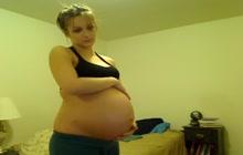 Preggo GF stripping on webcam