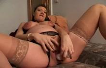 Pregnant big tit slut masturbates