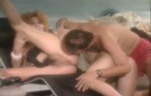 Retro pregnant chick in a threesome