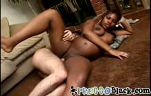 Pregnant Ebony MILF Bangs White Cock