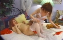 Slutty lesbian girl with her pregnant friend