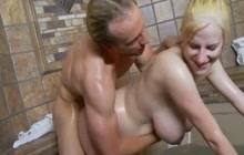 Pregnant blonde fucked in the bathtub